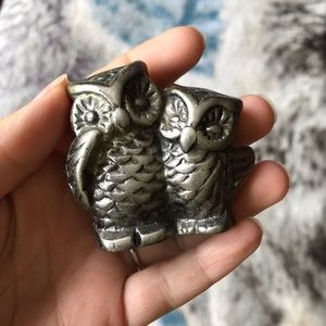 Vintage heavy pewter pair of owls